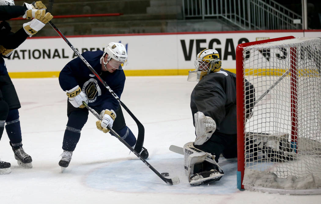 Vegas Golden Knights forward Ryan Wagner (36) and goaltender Jiri Patera (32) during practice at City National Arena Monday, Sept. 10, 2018. K.M. Cannon Las Vegas Review-Journal @KMCannonPhoto