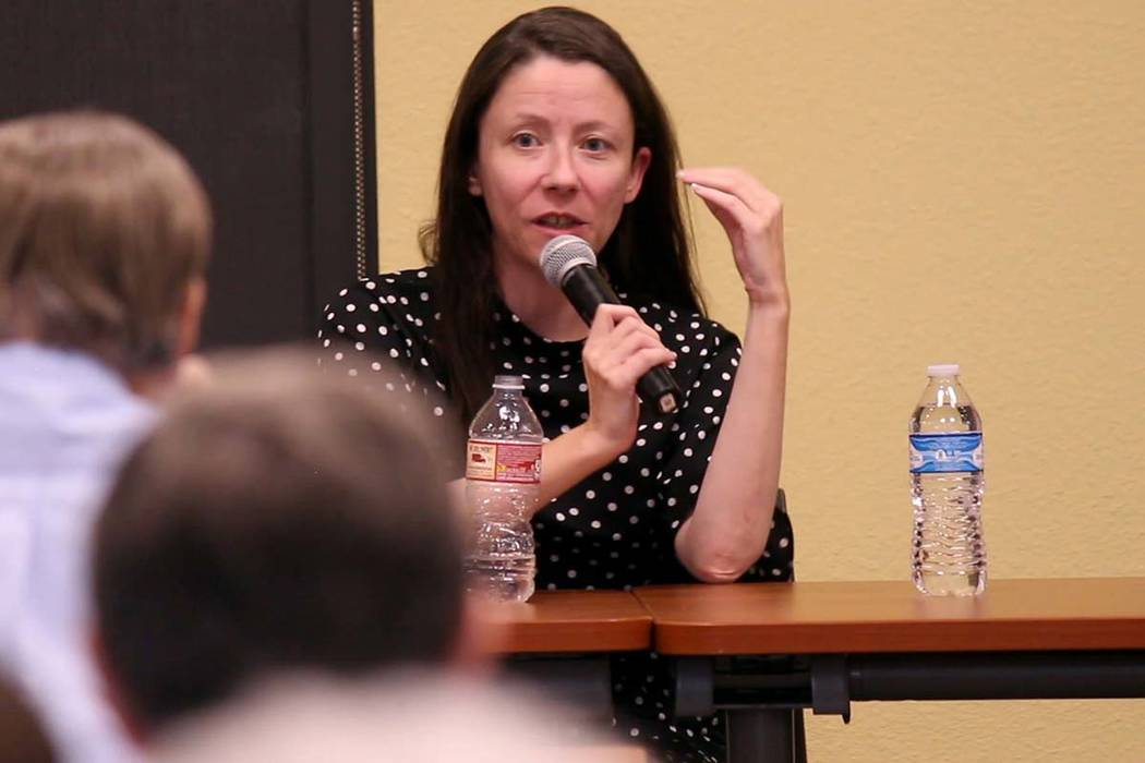 Meredith Levine, director of economic policy for the Kenny Guinn Center for Policy Priorities, speaks at a forum surrounding Question 3 in Pahrump. (Jeffrey Meehan/Pahrump Valley Times)