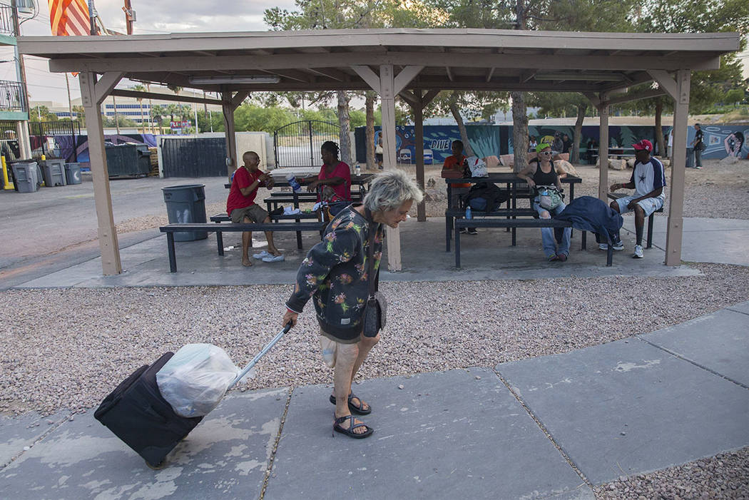 The city of Las Vegas' homeless courtyard on Thursday, July 27, 2018, in Las Vegas. The courtyard is now open 24 hours and offers new events and services. (Benjamin Hager Las Vegas Review-Journal ...