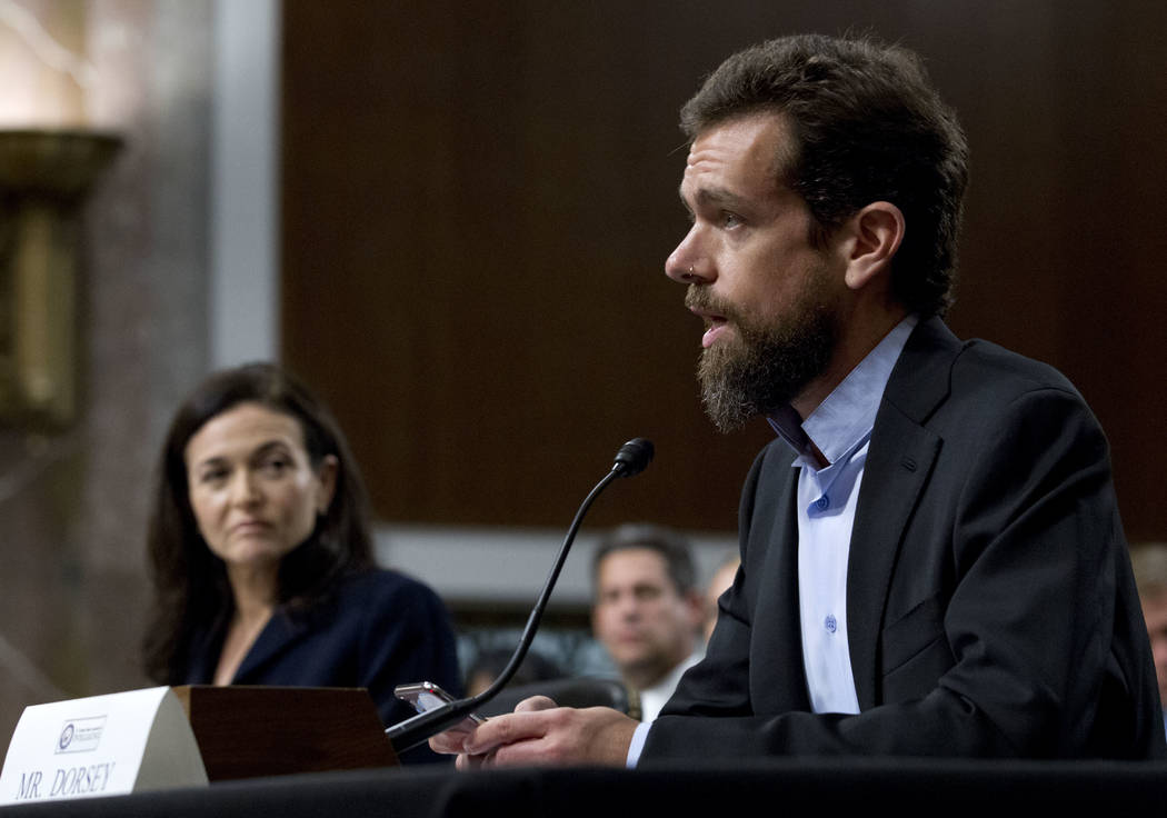 Twitter CEO Jack Dorsey, accompanied by Facebook COO Sheryl Sandberg, testify before the Senate Intelligence Committee hearing on 'Foreign Influence Operations and Their Use of Social Media Platfo ...