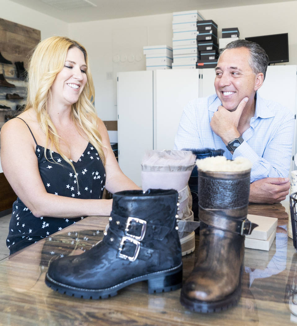 Ross & Snow co-founders Meghan Mossler, left, and Fred Mossler photographed during an interview at the company's headquarters in downtown Las Vegas, Monday, Sept. 10, 2018. (Marcus Villagran/L ...
