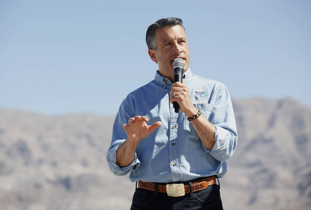 Gov. Brian Sandoval speaks to the crowd at an event unveiling the new Ice Age Fossils State Park visitor center plans in Las Vegas, Thursday, Sept. 13, 2018. Rachel Aston Las Vegas Review-Journal ...