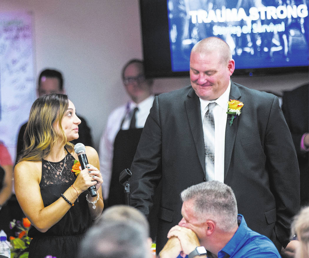 Oct. 1 survivors Dominica Zeolla of Santa Clarita, Calif., left, and San Bernardino County sheriff's Sgt. Brad Powers, both of whom were struck by gunfire and arrived at the hospital in the same v ...