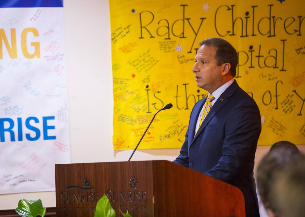 Sunrise Hospital CEO Todd Sklamberg speaks during an event at Sunrise Hospital and Medical Center in Las Vegas on Friday, Sept. 14, 2018. (Chase Stevens Las Vegas Review-Journal @csstevensphoto)