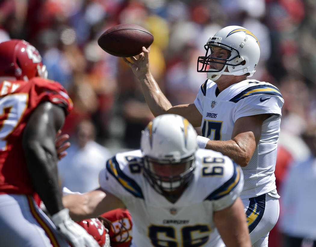 Los Angeles Chargers quarterback Philip Rivers in action during the first half of an NFL football game against the Kansas City Chiefs in Carson, Calif., Sunday, Sept. 9, 2018. (AP Photo/Kelvin Kuo)