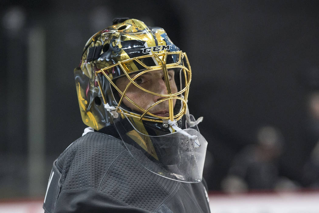 975c281f9 Vegas Golden Knights goaltender Marc-Andre Fleury (29) looks on during  practice at