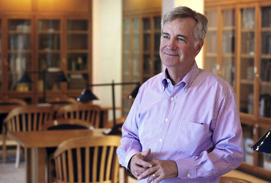 St. John's College President Mark Roosevelt talks about trends in student tuition and spending by colleges in Santa Fe, N.M., on Sept. 11, 2018. (AP Photo/Morgan Lee)