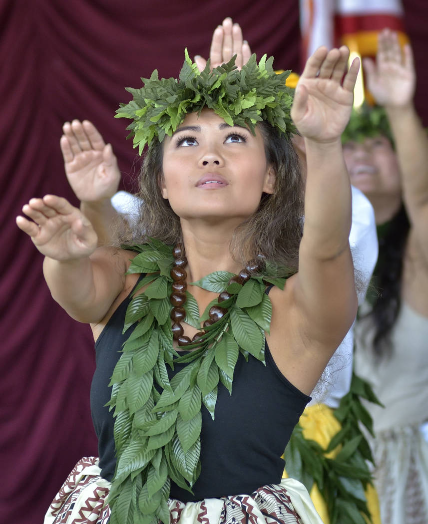 Hoku Kapanui of Las Vegas performs with Halau Hula 'O Kaleimomi during the 28th Annual Pacific Islander Festival and Ho'olaule'a at the Henderson Events Plaza at 200 S. Water St. in ...