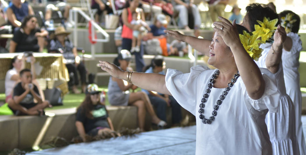 Gwen Fred of North Las Vegas performs with Halau Hula 'O Kaleimomi during the 28th Annual Pacific Islander Festival and Ho'olaule'a at the Henderson Events Plaza at 200 S. Water St. ...