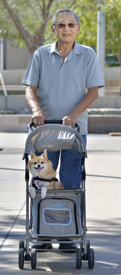 Clarence Chong of Henderson takes Mochi for a stroll during the 28th Annual Pacific Islander Festival and Ho'olaule'a at the Henderson Events Plaza at 200 S. Water St. in Henderson o ...