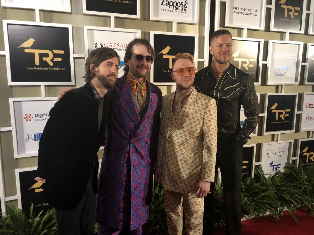 Wayne Sermon, Daniel Platzman, Ben McKee and Dan Reynolds of Imagine Dragons are shown at the Tyler Robinson Foundation Rise Up Gala at Caesars Palace on Friday, Sept. 14 2018. (John Katsilometes/ ...