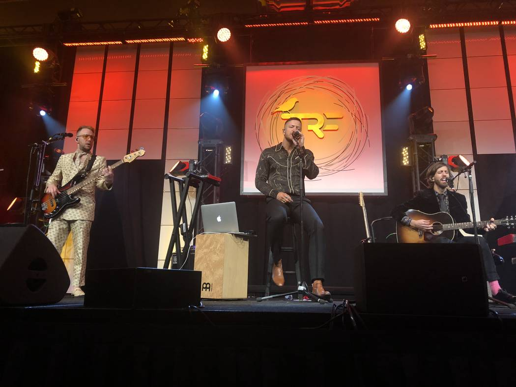 Ben McKee, Dan Reynolds and Wayne Sermon of Imagine Dragons are shown at the Tyler Robinson Foundation Rise Up Gala at Caesars Palace on Friday, Sept. 14 2018. (John Katsilometes/Las Vegas Review- ...