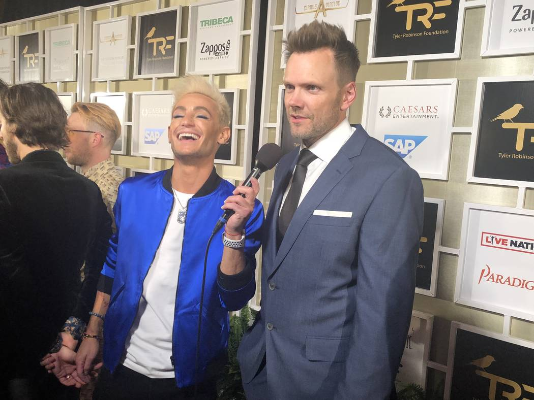 Joel McHale navigates a red-carpet interview with Frankie Grande at the Tyler Robinson Foundation Rise Up Gala at Caesars Palace on Friday, Sept. 14 2018. (John Katsilometes/Las Vegas Review-Journ ...