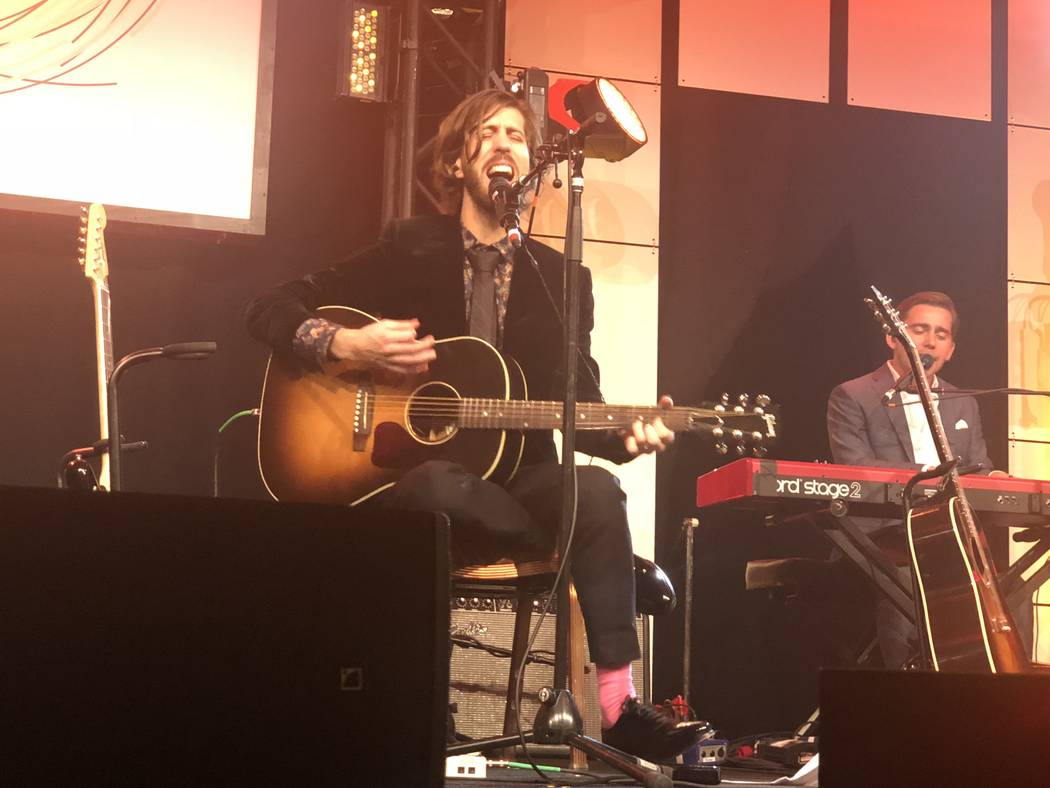 Wayne Sermon of Imagine Dragons is shown at the Tyler Robinson Foundation Rise Up Gala at Caesars Palace on Friday, Sept. 14 2018. (John Katsilometes/Las Vegas Review-Journal) @JohnnyKats