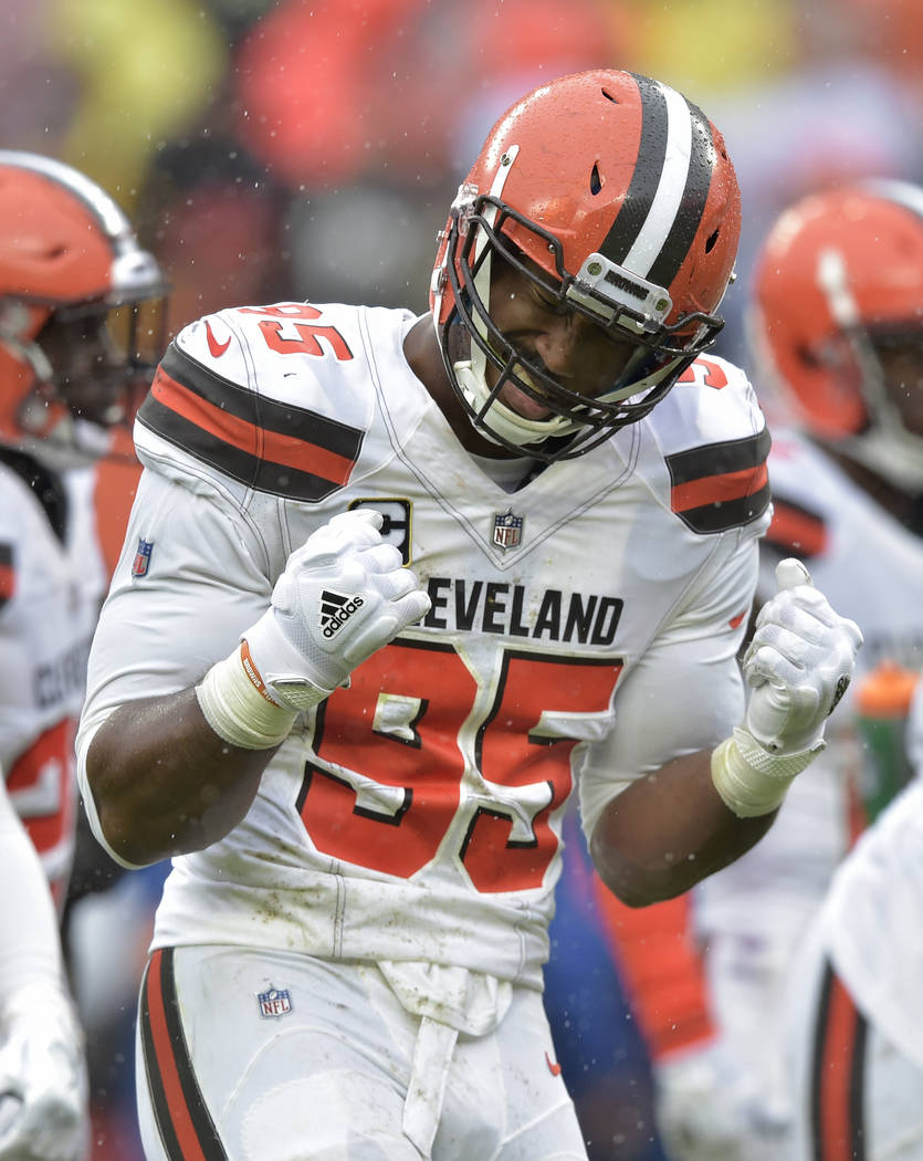 Cleveland Browns defensive end Myles Garrett (95) reacts during the first half of an NFL football game against the Pittsburgh Steelers, Sunday, Sept. 9, 2018, in Cleveland. (AP Photo/David Richard)