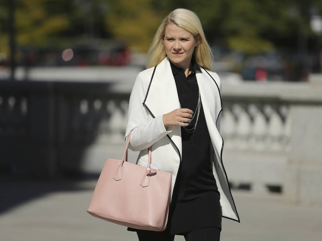 Elizabeth Smart walks to her press conference at the Utah State Capitol in Salt Lake City on Thursday, Sept. 13, 2018. Wanda Barzee will be released from Utah State Prison after serving her 15-yea ...