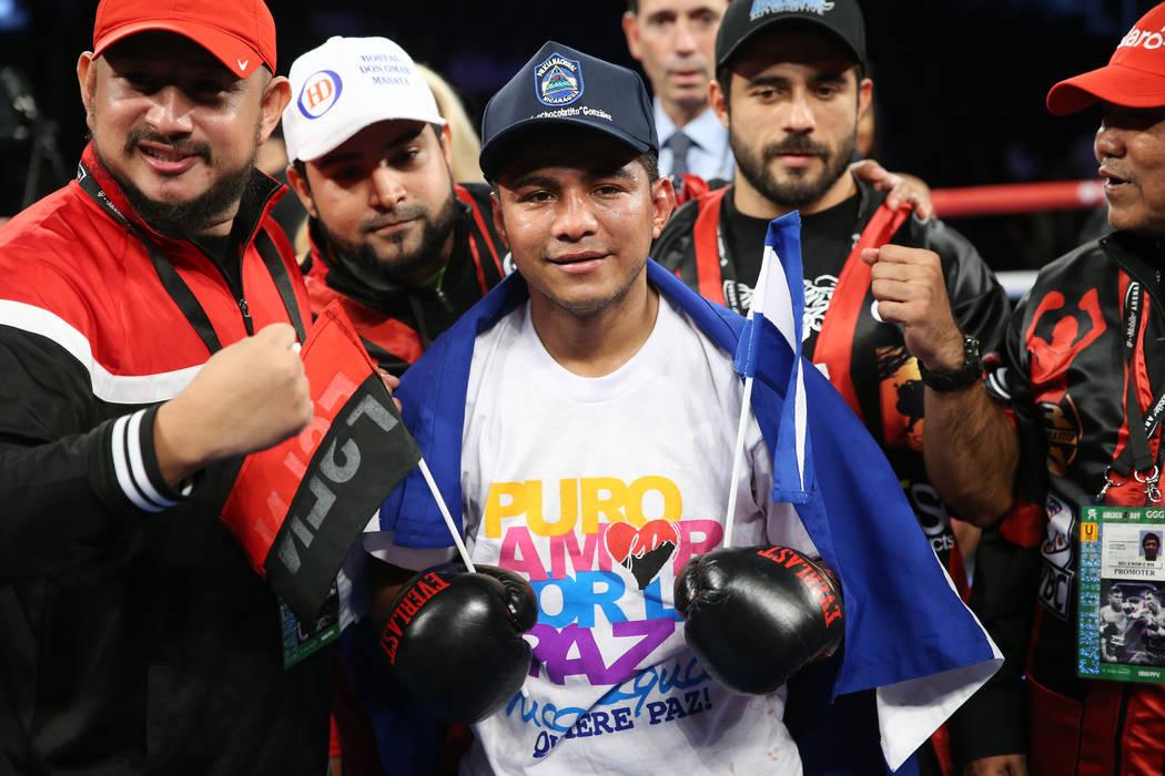 Roman Gonzalez celebrates his knockout win in the fifth round of the bantamweight bout against Moises Fuentes at T-Mobile Arena in Las Vegas, Saturday, Sept. 15, 2018. Erik Verduzco Las Vegas Revi ...