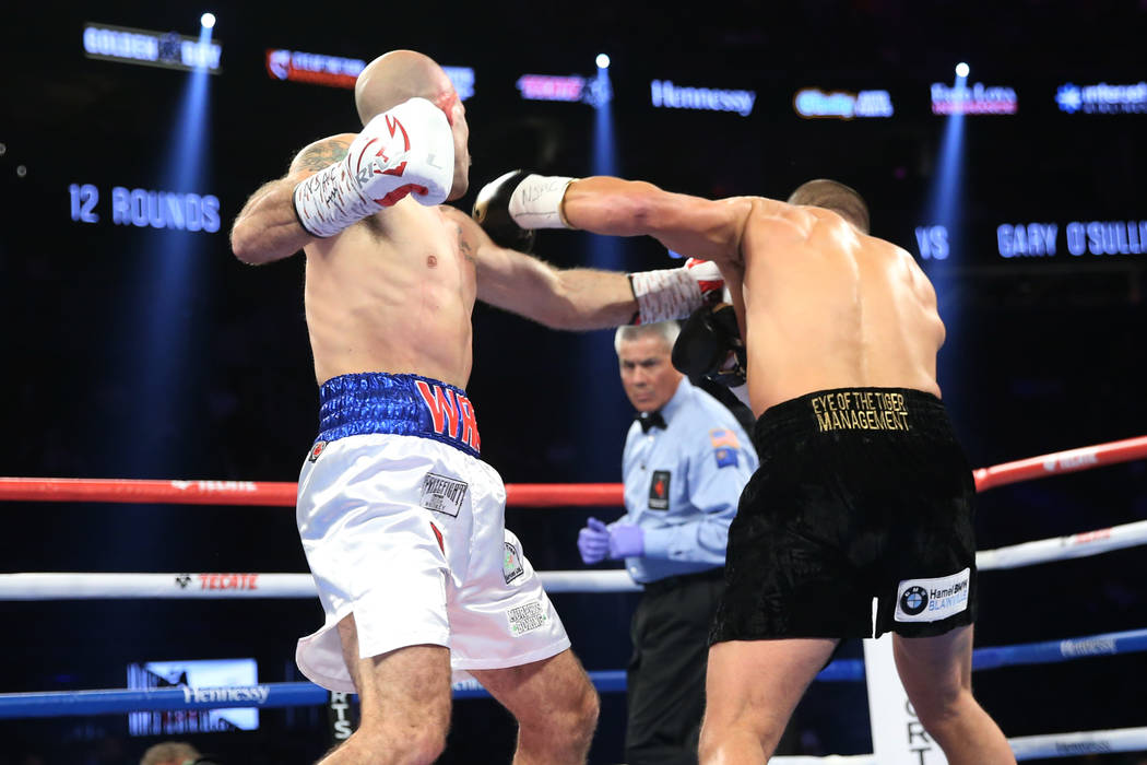 David Lemieux, eight, connects a punch to knockout Gary O'Sullivan in the WBA middleweight title eliminator bout at T-Mobile Arena in Las Vegas, Saturday, Sept. 15, 2018. Erik Verduzco Las Vegas R ...