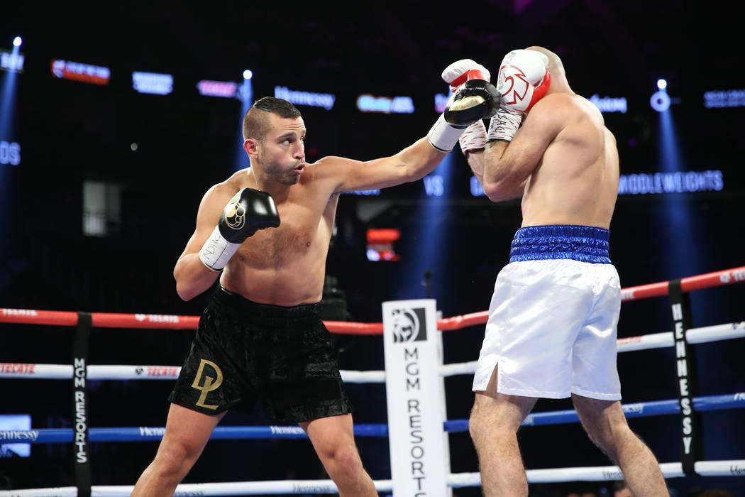 David Lemieux, left, throws a punch against Gary O'Sullivan in the WBA middleweight title eliminator bout at T-Mobile Arena in Las Vegas, Saturday, Sept. 15, 2018. Erik Verduzco Las Vegas Review-J ...