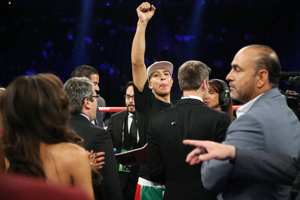 Jaime Munguia celebrates his third round technical knockout win against Brandon Cook in the WBO middleweight title bout at T-Mobile Arena in Las Vegas, Saturday, Sept. 15, 2018. Erik Verduzco Las ...