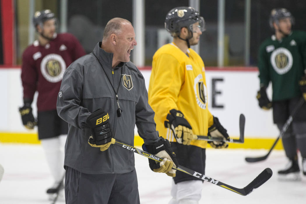 Vegas Golden Knights coach Gerard Gallant talks to his player during practice at City National Arena in Las Vegas, Friday, Sept. 14, 2018. Richard Brian Las Vegas Review-Journal @vegasphotograph