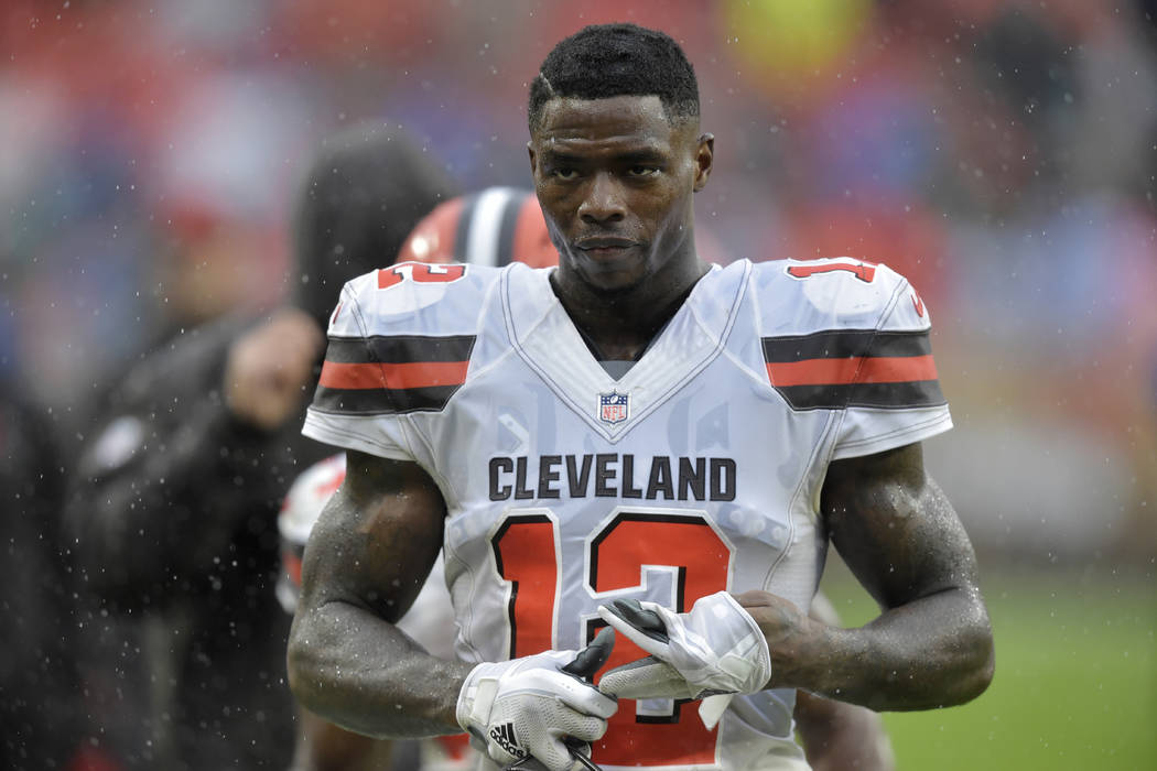 In this Sunday, Sept. 9, 2018 file photo, Cleveland Browns receiver Josh Gordon walks off the field after an NFL football game against the Pittsburgh Steelers in Cleveland. (AP Photo/David Richard ...