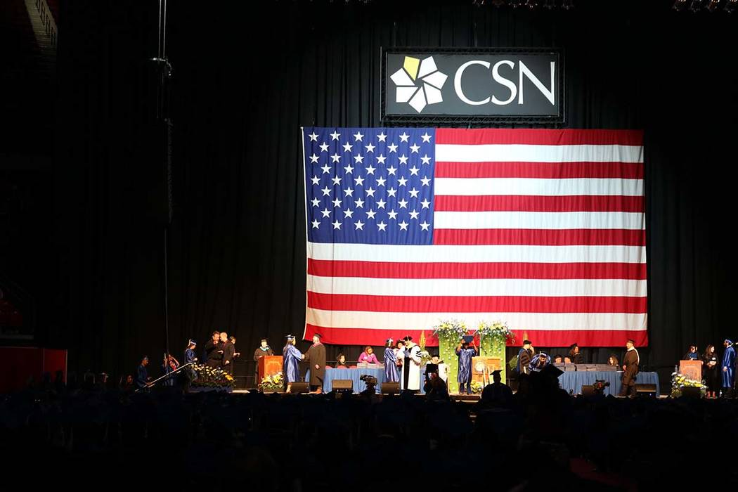 Students wait for their names to be called at the College of Southern Nevada's 46th commencement ceremony at Thomas & Mack Center in Las Vegas, Monday, May 14, 2018. The Class of 2018 was the ...