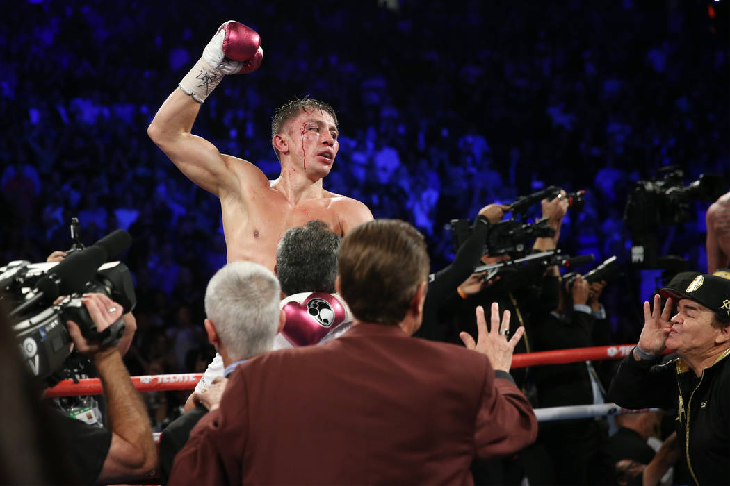 "Gennady Golovkin reacts following his WBC, WBA, IBO, RING middleweight title bout against Saul ""Canelo"" Alvarez at T-Mobile Arena in Las Vegas, Saturday, Sept. 15, 2018. Alvarez won ..."