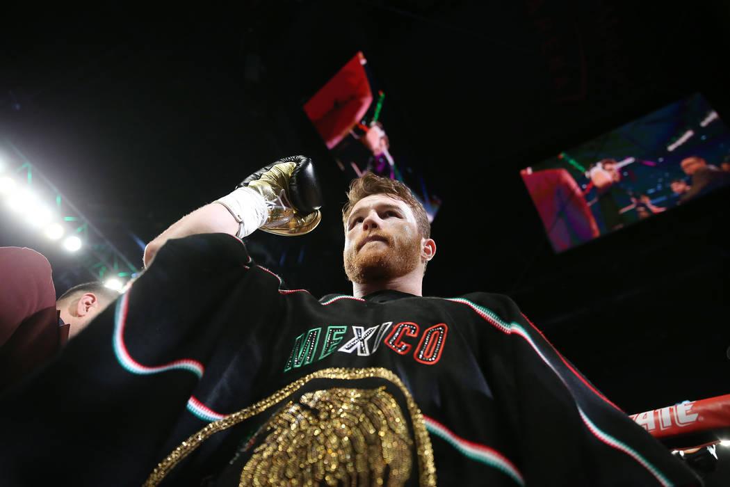 "Saul ""Canelo"" Alvarez takes the ring for his fight for Gennady Golovkin at T-Mobile Arena in Las Vegas, Saturday, Sept. 15, 2018. Erik Verduzco Las Vegas Review-Journal @Erik_Verduzco"