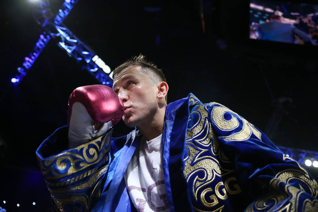 "Gennady Golovkin turns to the crowd as he took the ring for his fight against Saul ""Canelo"" Alvarez at T-Mobile Arena in Las Vegas, Saturday, Sept. 15, 2018. Erik Verduzco Las Vegas Revi ..."