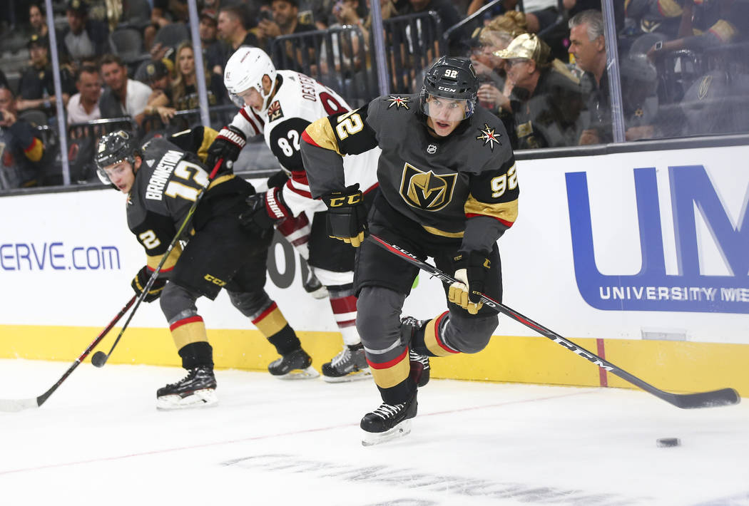 Golden Knights left wing Tomas Nosek (92) controls the puck against the Arizona Coyotes during the first period of a preseason NHL hockey game at T-Mobile Arena in Las Vegas on Sunday, Sept. 16, 2 ...