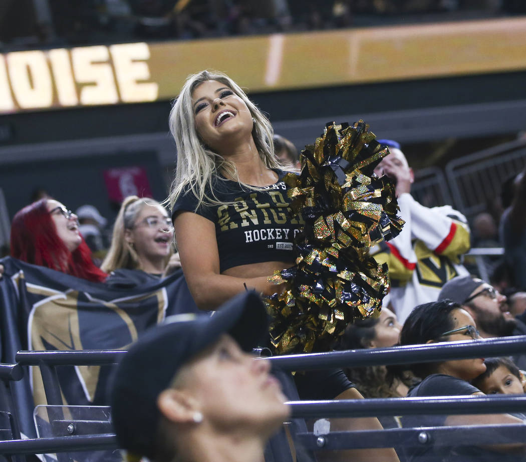 A Golden Aces cheerleader entertains the crowd during the third period of a preseason NHL hockey game against the Arizona Coyotes at T-Mobile Arena in Las Vegas on Sunday, Sept. 16, 2018. Chase St ...