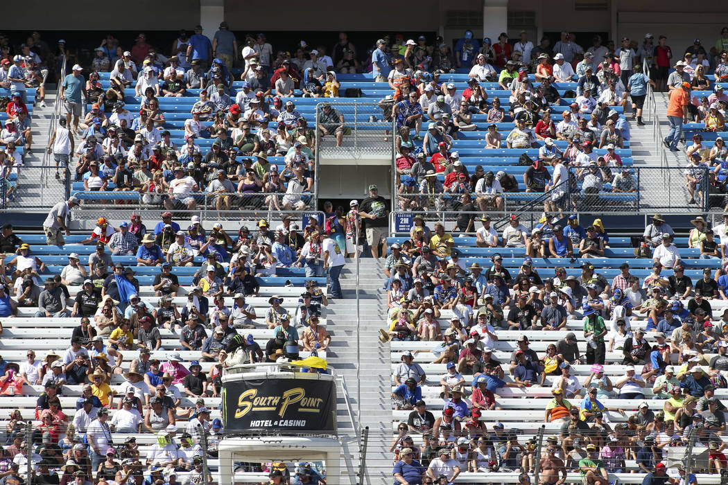 Race fans watch the South Point 400 NASCAR Cup Series auto race at the Las Vegas Motor Speedway in Las Vegas on Sunday, Sept. 16, 2018. Richard Brian Las Vegas Review-Journal @vegasphotograph