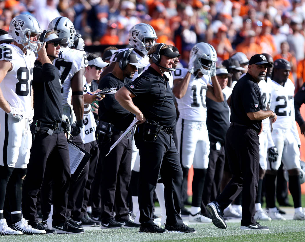 Oakland Raiders head coach Jon Gruden on the sideline during the second half of their NFL game against the Denver Broncos in Denver, Colo., Sunday, Sept. 16, 2018. Heidi Fang Las Vegas Review-Jour ...
