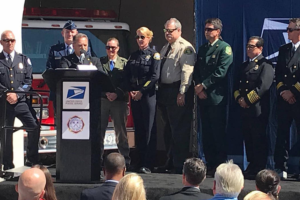 Local agencies were honored at the First Responder commemorative stamp ceremony held today at the Montecito Fire Department. (Montecito/Facebook)