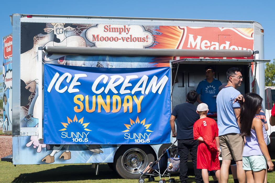 Free ice cream is given to attendees for the annual Sunny 106.5 Ice Cream Sunday event at Huckleberry Park in Las Vegas, Sunday, Sept. 16, 2018. (Marcus Villagran/Las Vegas Review-Journal) @marcus ...