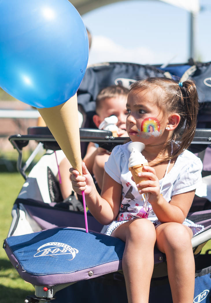 Jordyn Trujillo, 5, attends the annual Sunny 106.5 Ice Cream Sunday event at Huckleberry Park in Las Vegas, Sunday, Sept. 16, 2018. (Marcus Villagran/Las Vegas Review-Journal) @marcusvillagran