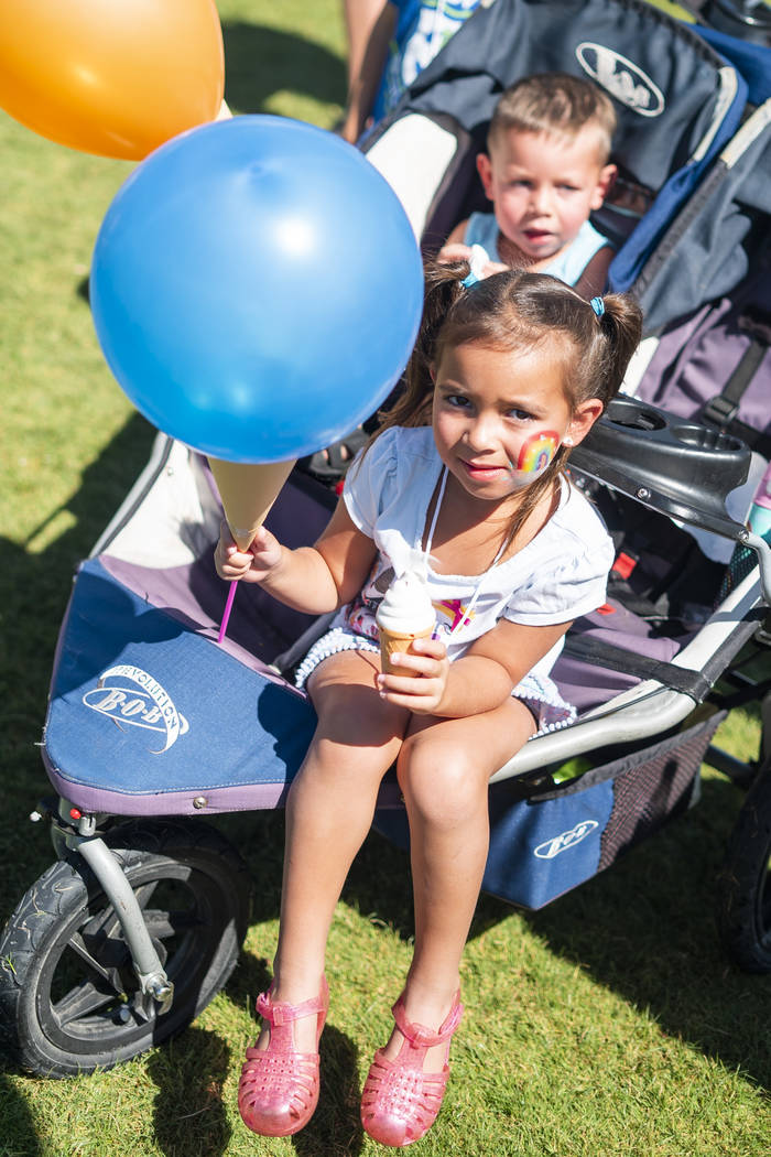 Michael Trujillo, 2, and Jordyn Trujillo, 5, attend the annual Sunny 106.5 Ice Cream Sunday event at Huckleberry Park in Las Vegas, Sunday, Sept. 16, 2018. (Marcus Villagran/Las Vegas Review-Journ ...