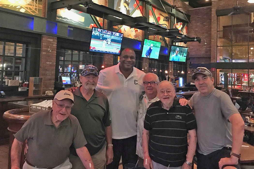 Lunch Bunch group includes, from left, View columnist Herb Jaffe, retired major league baseball catcher Duke Sims, retired NBA forward-center Mike Brown, sports enthusiast Lou Rodophele, Newark St ...