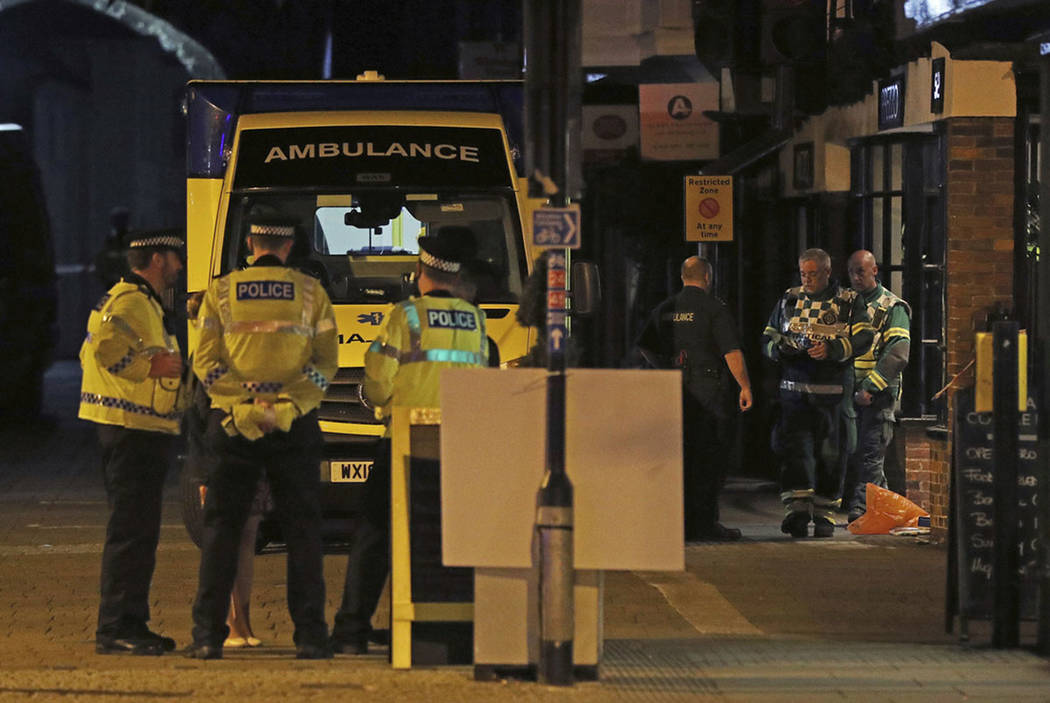 """Emergency services personnel stage outside Prezzo restaurant, Sunday, Sept. 16, 2018, in Salisbury, United Kingdom, where police have closed streets as a """"precautionary measure"""" after tw ..."""