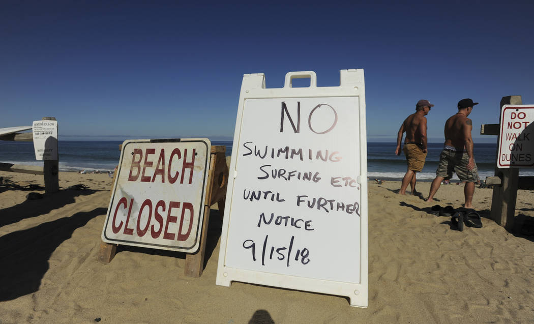 Two signs at the top of the dune at Newcomb Hollow Beach alert visitors that the beach is closed to swimming, Saturday, Sept. 15, 2018, in Wellfleet, Mass. A Revere man died after being bitten by ...