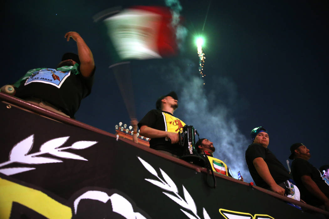 Fans watch a firework show following the game between the Las Vegas Lights and the Portland Timbers at Cashman Field in Las Vegas, Sunday, Sept. 16, 2018.The Las Vegas Lights lost 2-0. Erik ...