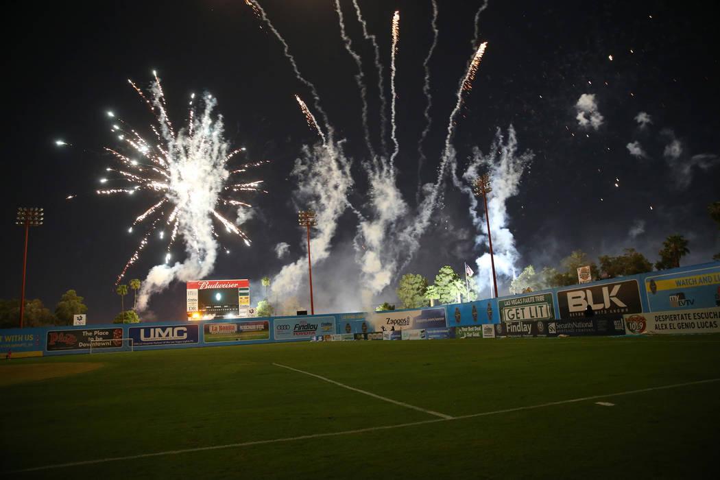 A firework show following the game between the Las Vegas Lights and the Portland Timbers at Cashman Field in Las Vegas, Sunday, Sept. 16, 2018. Erik Verduzco Las Vegas Review-Journal @Erik_Verduzco