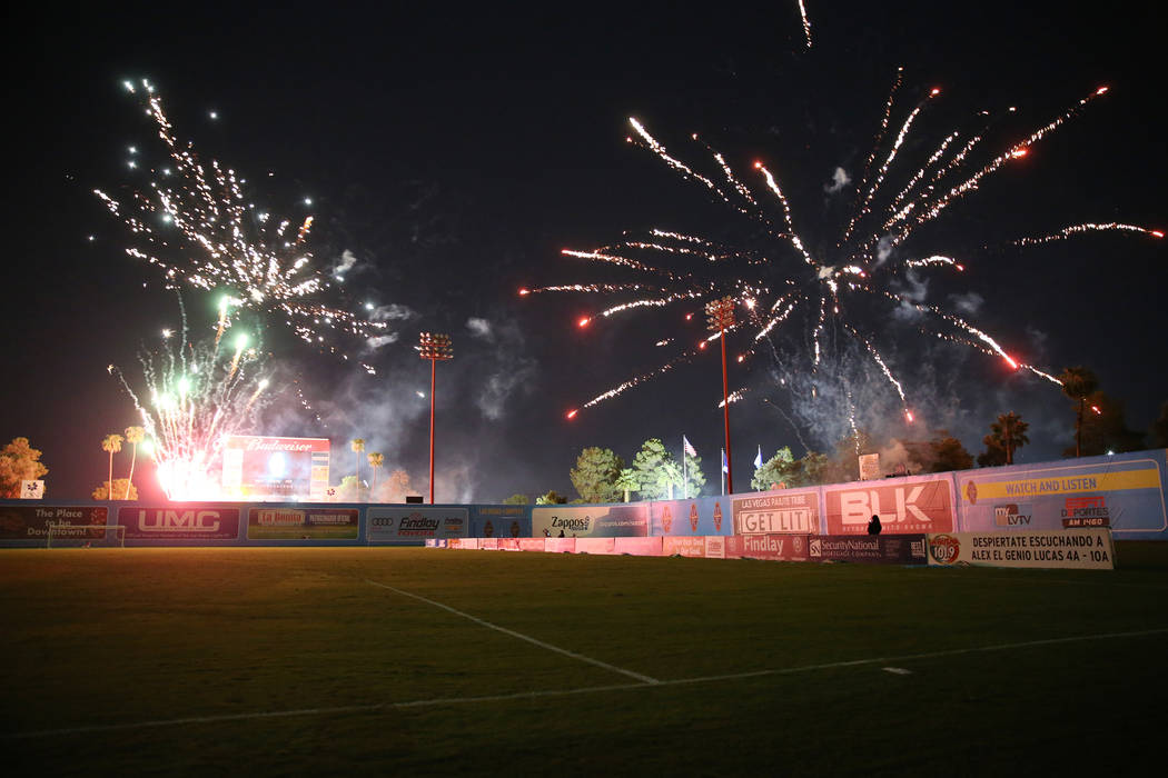 A firework show following the game between the Las Vegas Lights and the Portland Timbers at Cashman Field in Las Vegas, Sunday, Sept. 16, 2018.The Las Vegas Lights lost 2-0. Erik Verduzco La ...