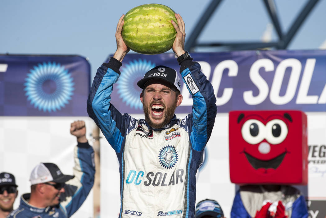 Ross Chastain celebrates in Victory Lane after winning the DC Solar 300 NASCAR Xfinity Series auto race at Las Vegas Motor Speedway, Saturday, Sept. 15, 2018, in Las Vegas. (Richard Brian/Las Vega ...