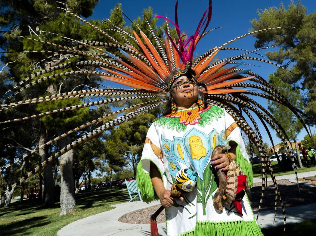Maria Huehueicoyotl celebrates Hispanic Heritage at the El Tiempo Fiesta Las Vegas at Craig Ranch Regional Park in Las Vegas, Saturday, Sept. 15, 2018.(Marcus Villagran/Las Vegas Review-Journal) @ ...