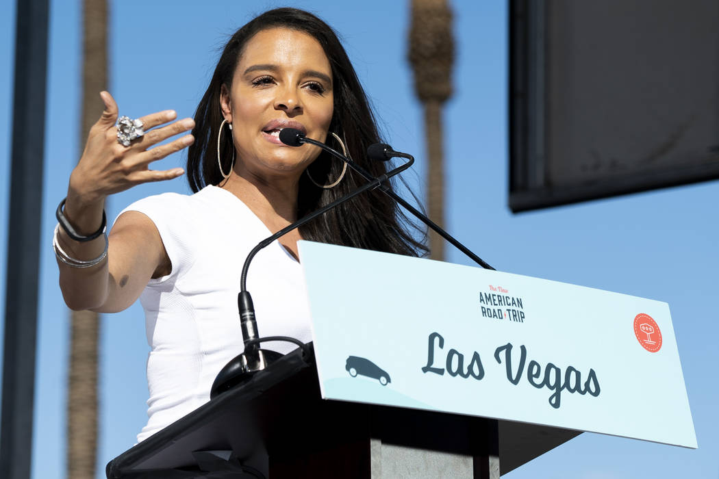 """American actress and singer Antonique Smith speaks in front of the Luxor hotel-casino in Las Vegas at an event for """"The New American Road Trip,"""" an electric-vehicle tour from California ..."""