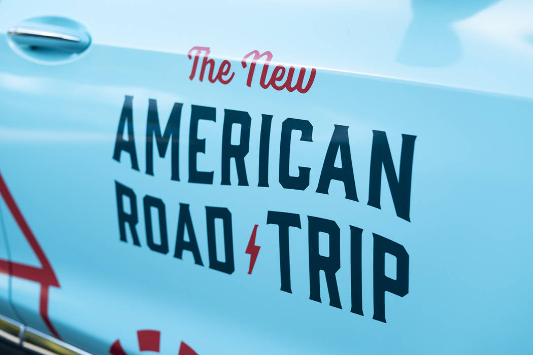 """The New American Road Trip,"" an electric-vehicle tour from California to New York, made a stop in front of the Luxor casino-hotel in Las Vegas, Sunday, Sept. 16, 2018.(Marcus Villagran/ ..."