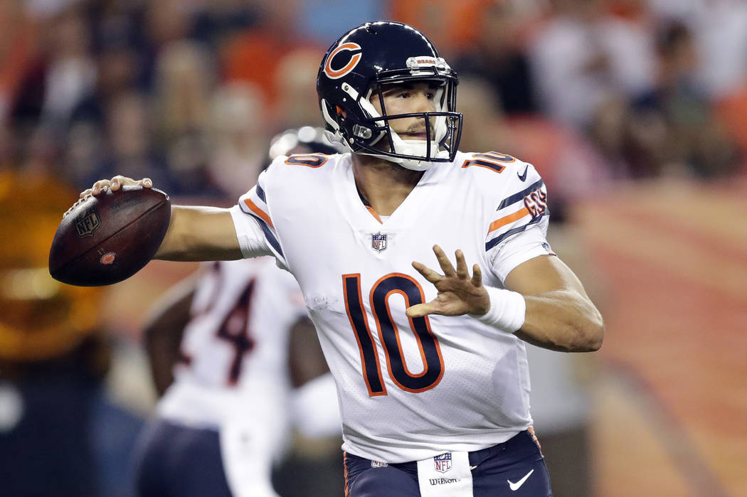 In this Aug. 18, 2018, file photo, Chicago Bears quarterback Mitchell Trubisky (10) throws against the Denver Broncos during the first half of a preseason NFL football game, in Denver. (AP Photo/J ...
