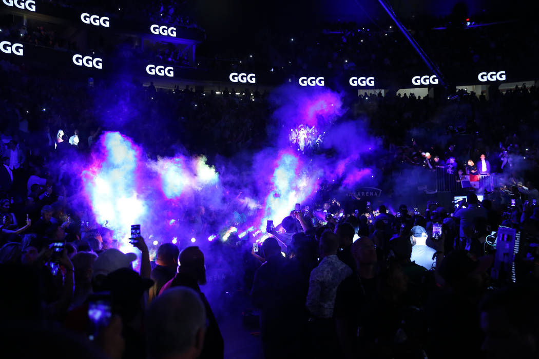 "Gennady Golovkin makes his way to the ring for his fight against Saul ""Canelo"" Alvarez at T-Mobile Arena in Las Vegas, Saturday, Sept. 15, 2018. Erik Verduzco Las Vegas Review-Journal @E ..."